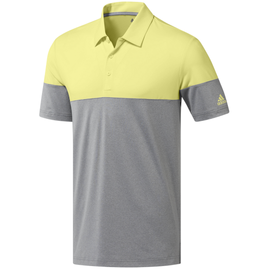 Adidas Ult Heather Block Polo Grau Gelb