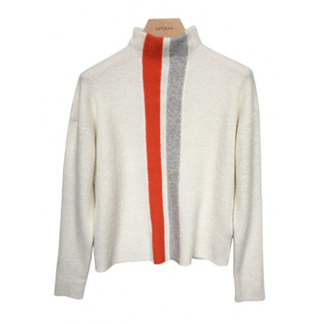 Spoon Front Stripe Cashmere Sweater